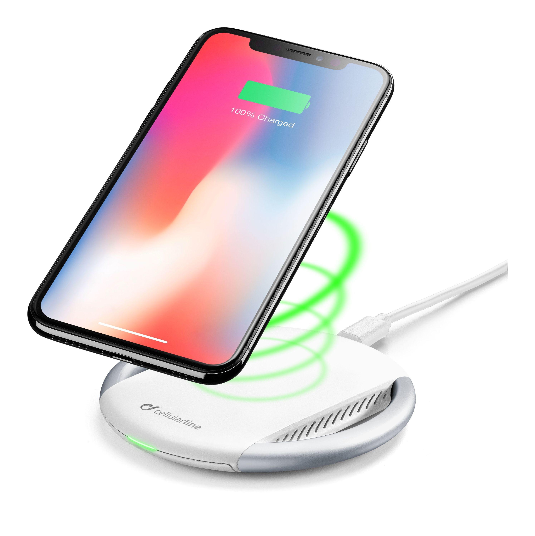 Bezdrátová rychlá nabíječka pro iPhone - Cellularline, WIRELESSPAD WHITE + nabíjecí adaptér a kabel