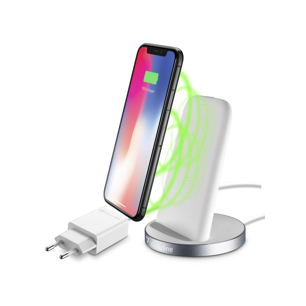 Bezdrátová rychlá nabíječka pro iPhone - Cellularline, WIRELESSSTAND WHITE + nabíjecí adaptér a kabel