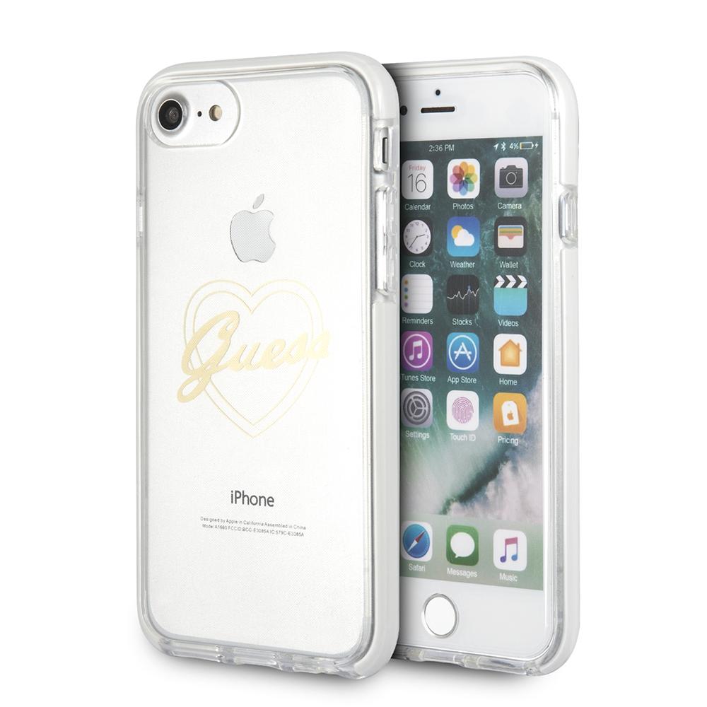Ochranný kryt pro iPhone 8 / 7 / 6S / 6 - Guess, ShockProof Heart Gold
