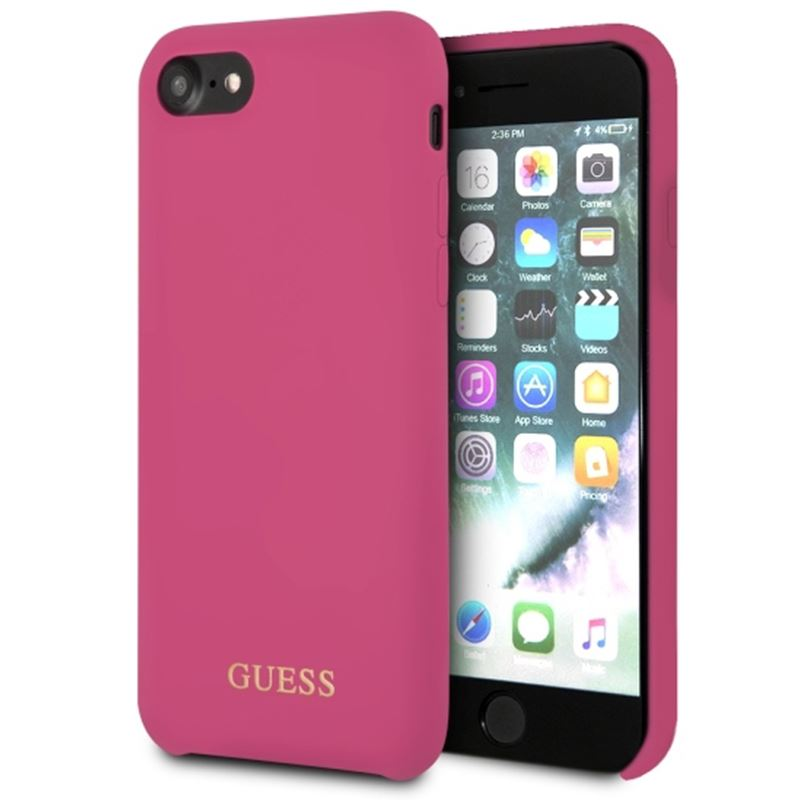 Ochranný kryt pro iPhone 7 / 8 - Guess, Silicone Logo HotPink