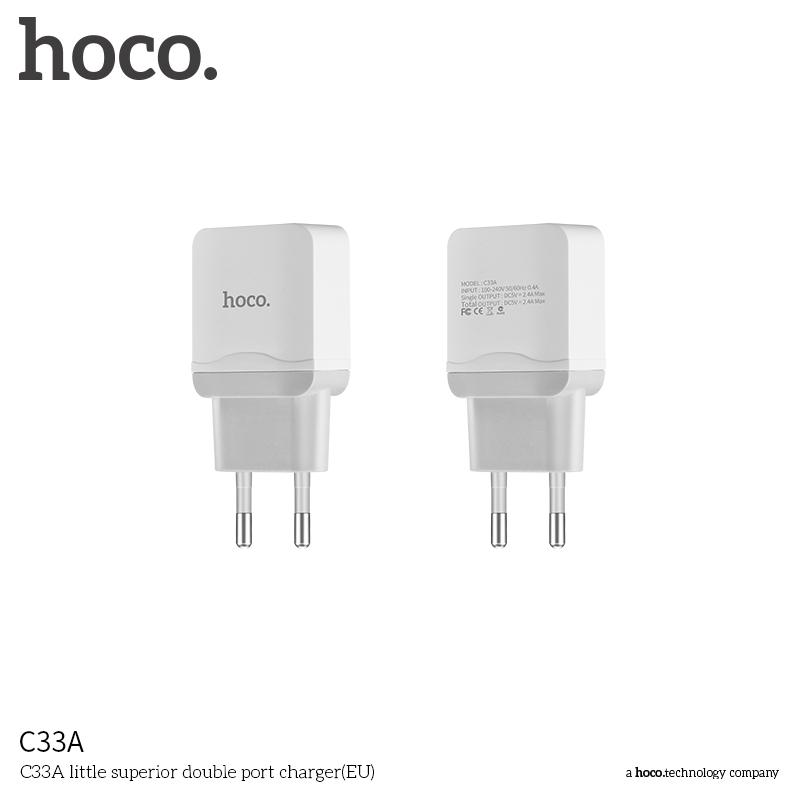 Nabíjecí AC adaptér pro iPhone a iPad - HOCO, C33A Dual 2.4A White