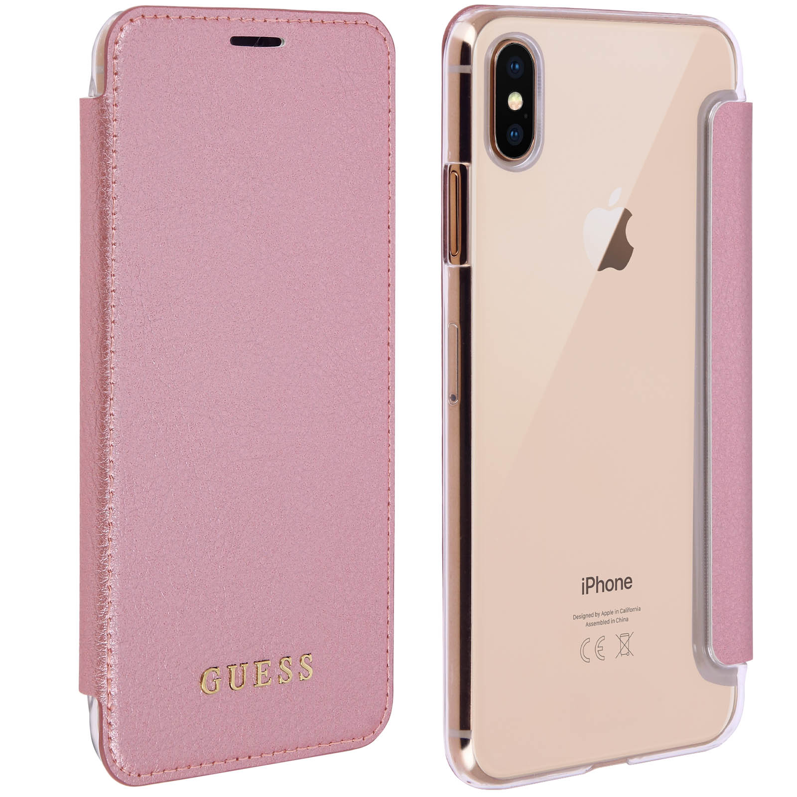 Pouzdro / kryt pro iPhone XS MAX - Guess, Iridescent Book RoseGold