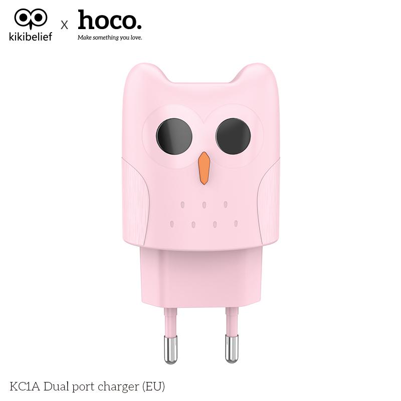 Nabíjecí AC adaptér pro iPhone a iPad - HOCO, KC1A Kikibelief Pink