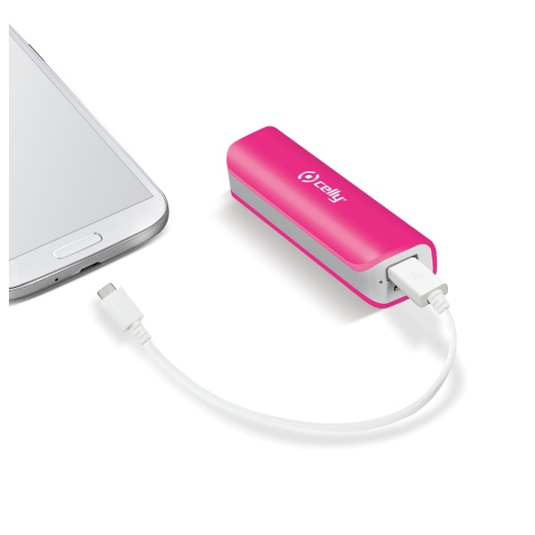 Externí baterie / powerbanka - CELLY, 2600mAh Pink
