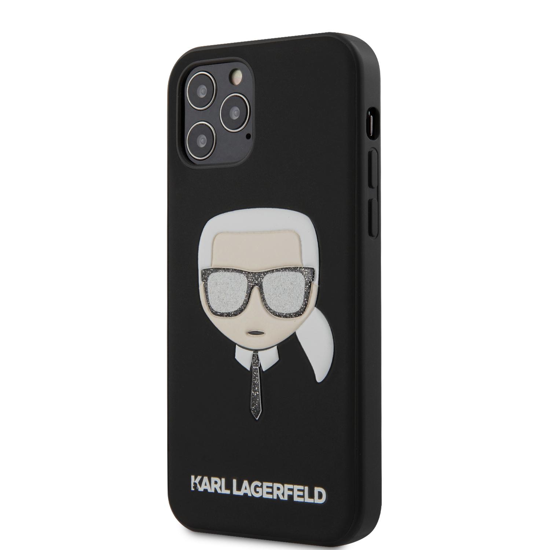 Levně Ochranný kryt pro iPhone 12 Pro MAX - Karl Lagerfeld, Glitter Head Black KLHCP12LGLBK