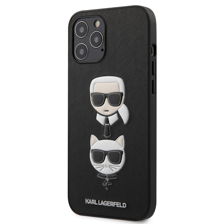 Levně Ochranný kryt pro iPhone 12 Pro MAX - Karl Lagerfeld, K&C Heads Black KLHCP12LSAKICKCBK
