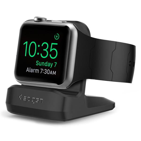 Noční nabíjecí stojánek pro Apple Watch 38mm / 42mm - Spigen, S350 Night Stand Black