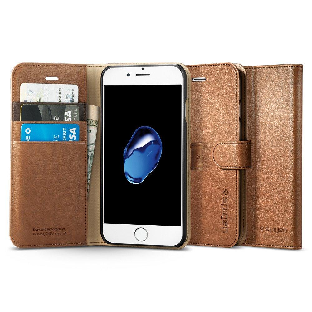 Pouzdro / kryt pro iPhone 7 - Spigen, Wallet S Brown