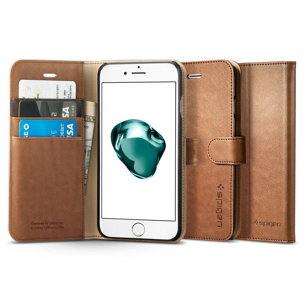 Pouzdro / kryt pro iPhone 7 Plus - Spigen, Wallet S Brown