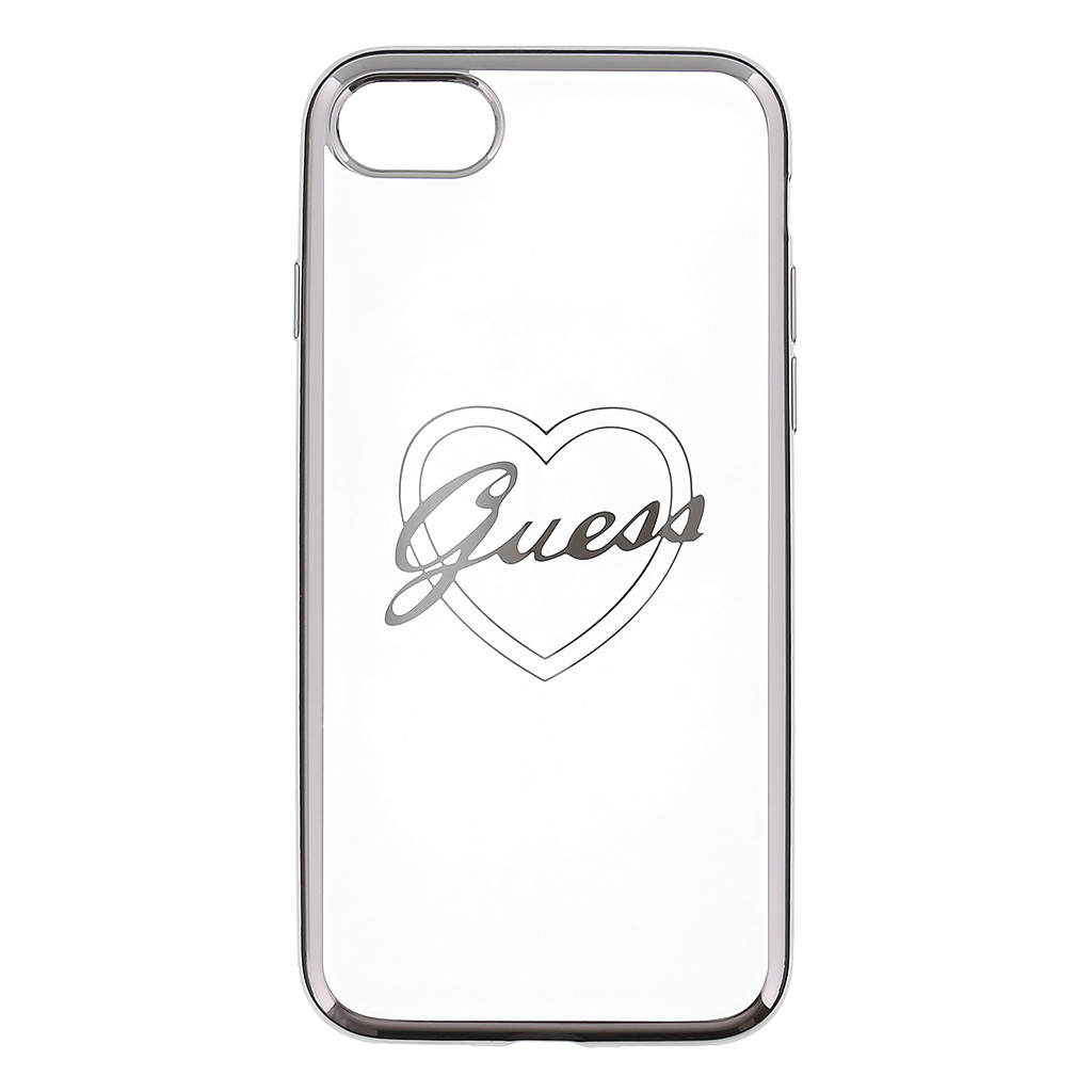 Pouzdro / kryt pro Apple iPhone 7 / 8 - Guess, Heart TPU Silver