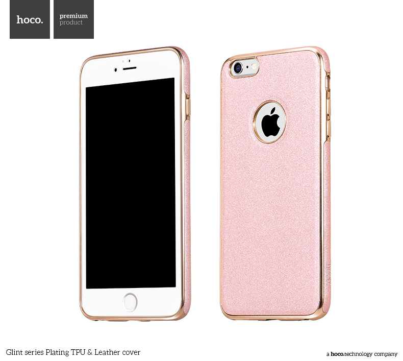Pouzdro / kryt pro Apple iPhone 6 / 6S - Hoco, GlintLeather Rose Gold