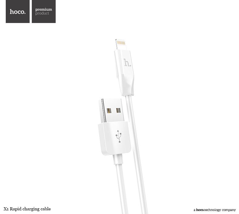 Kabel lightning pro iPhone a iPad bez MFI - Hoco, X1 White 200cm