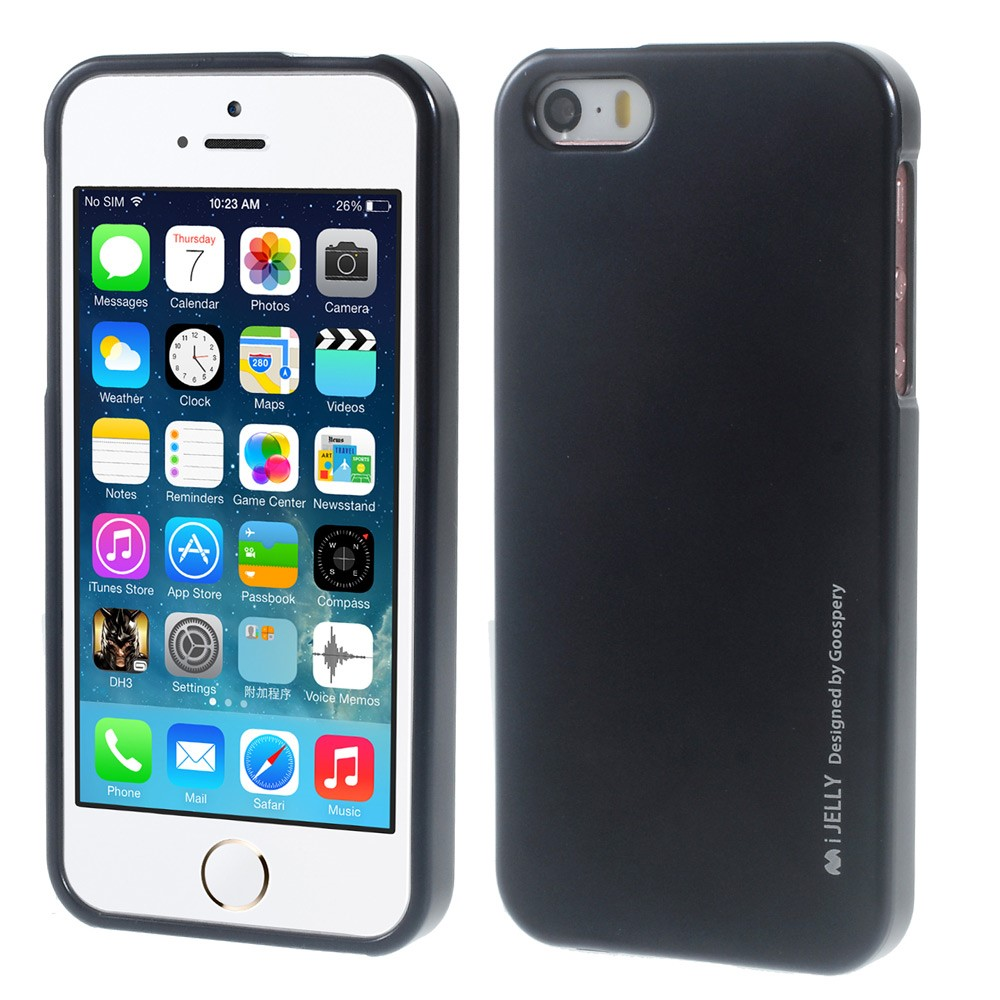 Pouzdro / kryt pro Apple iPhone 5 / 5S / SE - Mercury, i-Jelly Black