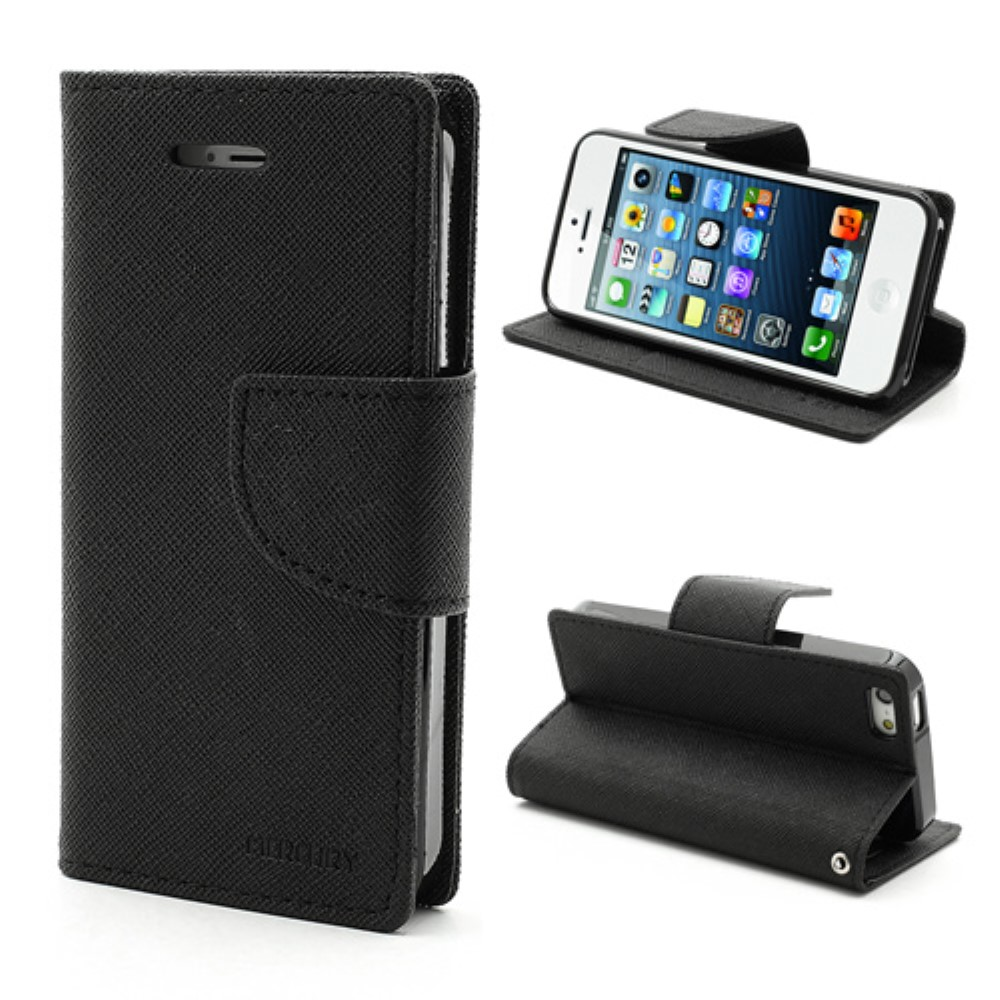 Pouzdro / kryt pro Apple iPhone 5 / 5S / SE - Mercury, Fancy Diary Black/Black