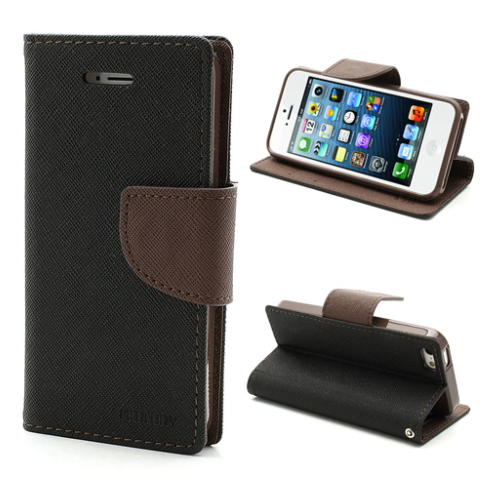 Pouzdro / kryt pro Apple iPhone 5 / 5S / SE - Mercury, Fancy Diary Black/Brown