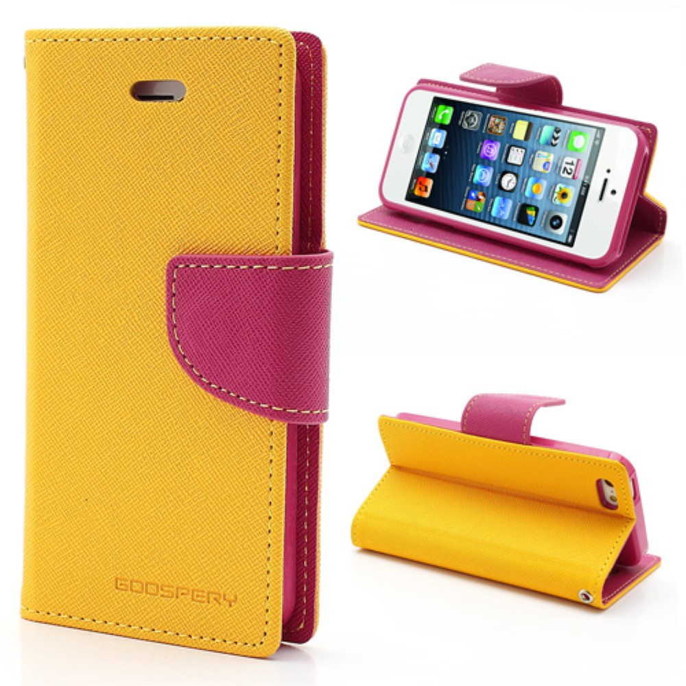 Pouzdro / kryt pro Apple iPhone 5 / 5S / SE - Mercury, Fancy Diary Yellow/Hotpink