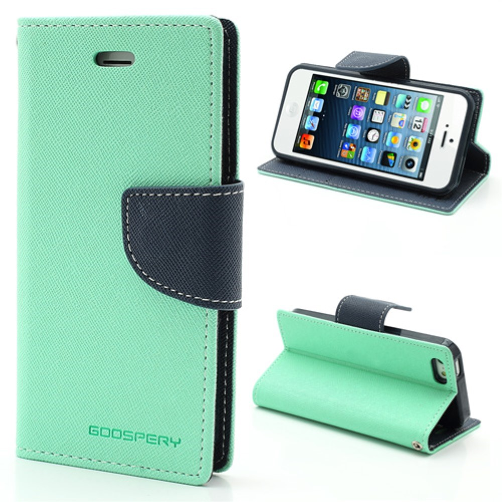Pouzdro / kryt pro Apple iPhone 5 / 5S / SE - Mercury, Fancy Diary Mint/Navy