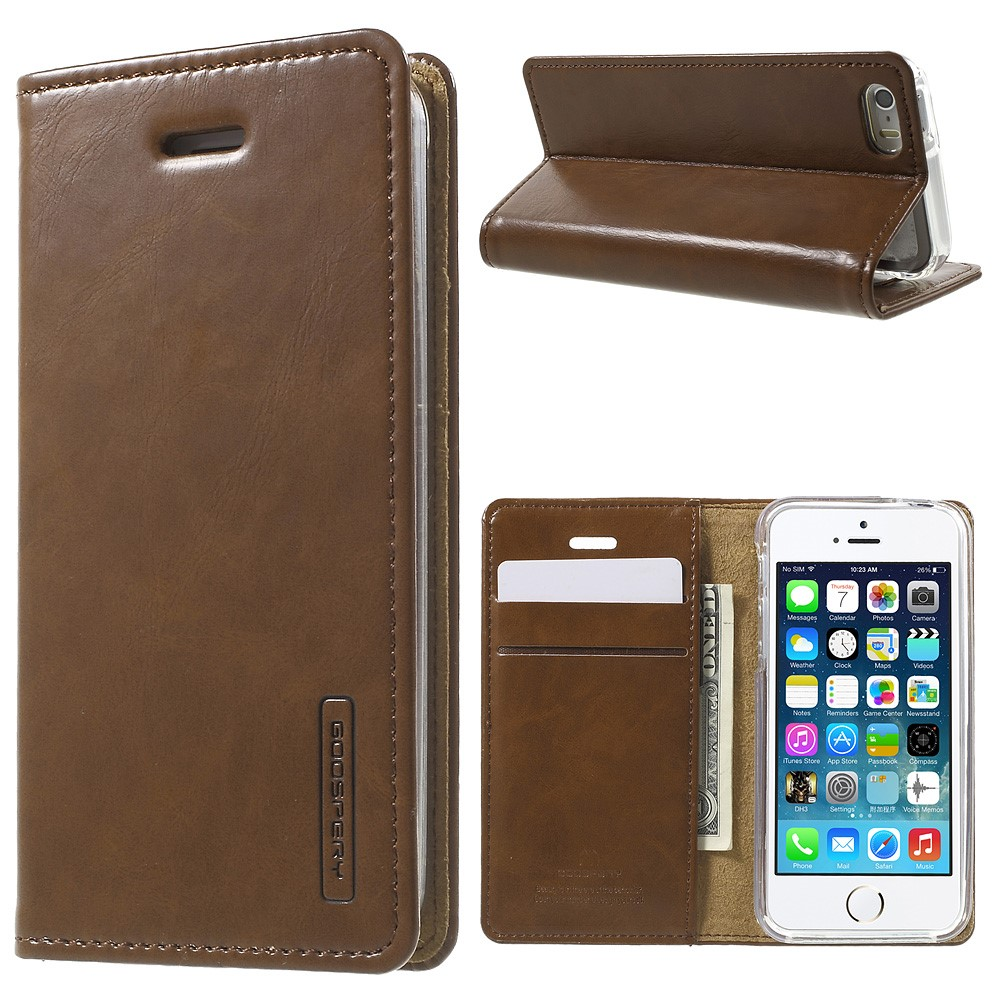 Pouzdro / kryt pro Apple iPhone 5 / 5S / SE - Mercury, Bluemoon Flip Brown