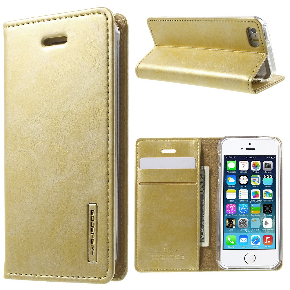 Pouzdro / kryt pro Apple iPhone 5 / 5S / SE - Mercury, Bluemoon Flip Gold