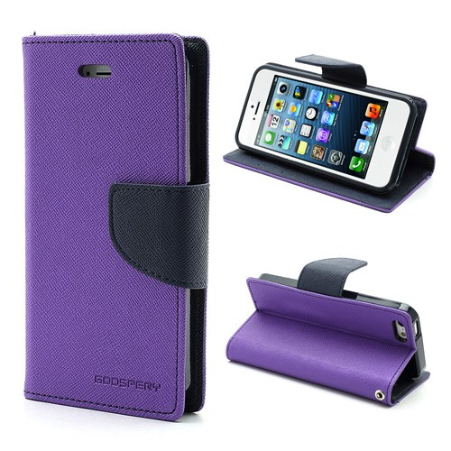 Pouzdro / kryt pro Apple iPhone 5 / 5S / SE - Mercury, Fancy Diary Purple/Navy