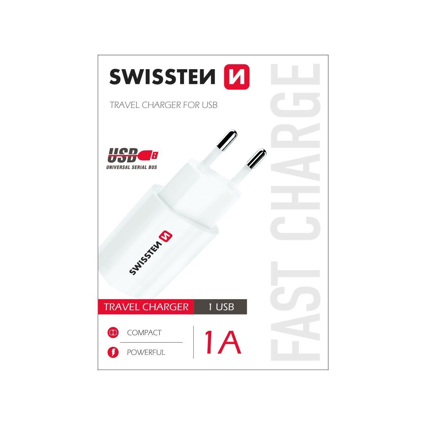 Nabíjecí AC adaptér pro iPhone a jiné mobilní telefony - SWISSTEN, 1A