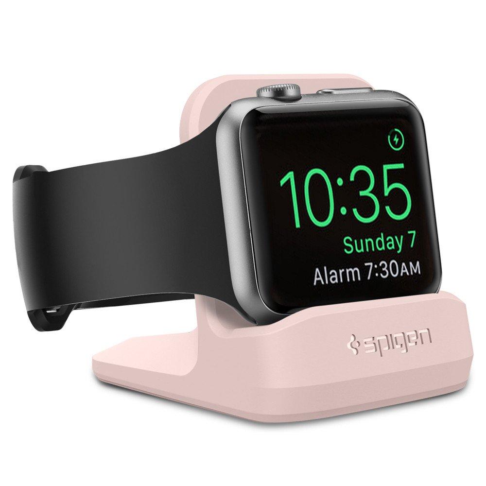 Noční nabíjecí stojánek pro Apple Watch 38mm / 42mm - Spigen, S350 Night Stand Pink Sand