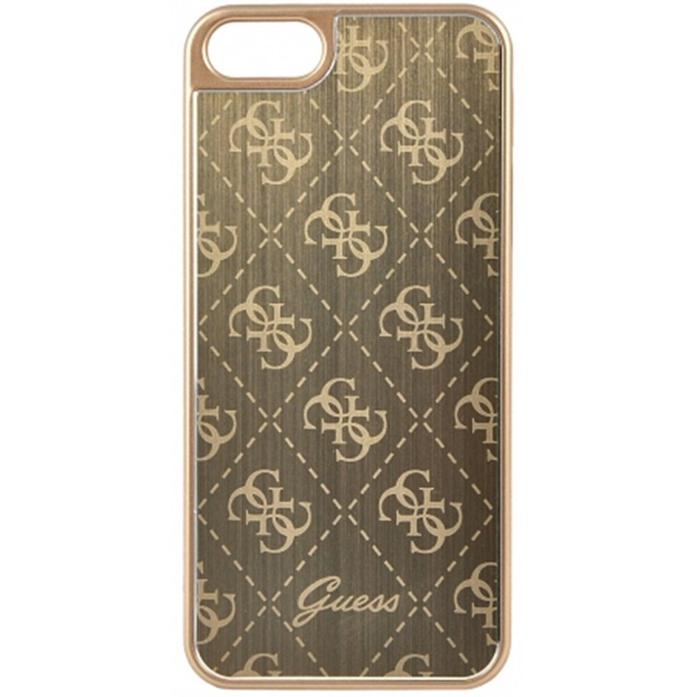 Pouzdro / kryt pro Apple iPhone 5 / 5S / SE - Guess, 4G Aluminum Gold