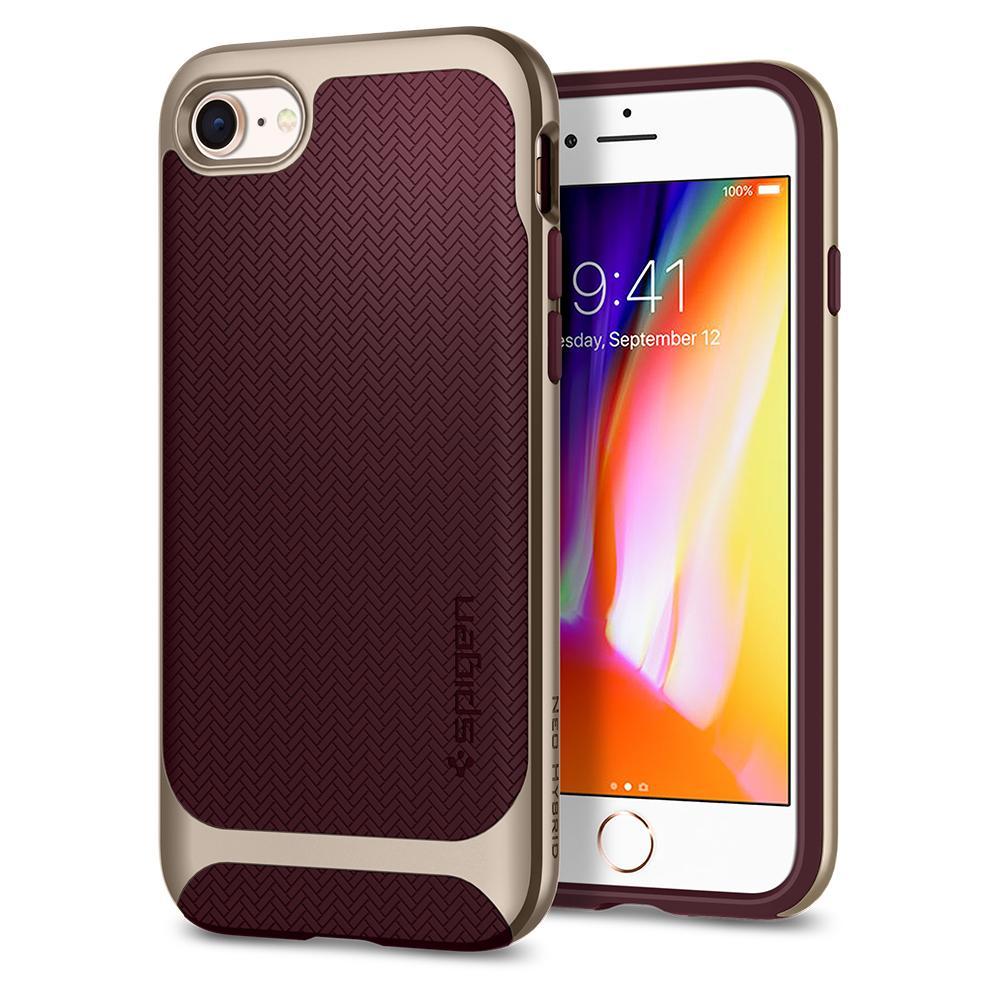 Ochranný kryt pro iPhone 7 / 8 - Spigen, Neo Hybrid Herringbone Burgundy