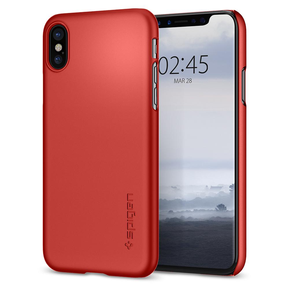 Ochranný kryt pro iPhone X - Spigen, Thin Fit Metallic Red