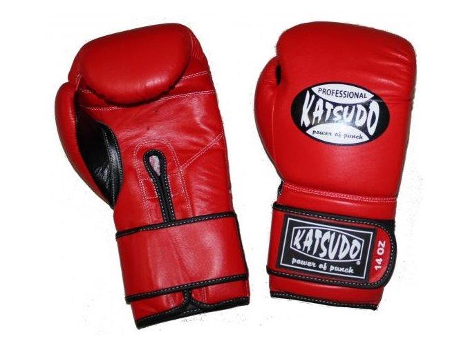 Boxerské rukavice Katsudo Profesional (Barva ČERVENÁ, Velikost 10oz)