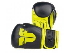 Boxerské rukavice Fighter BOX MUAY THAI černá žlutá