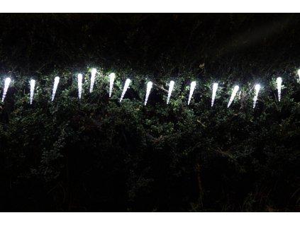 Sharks Solární vánoční osvětlení - Světelný řetěz (rampouchy) s 20 LED diodami, bílá
