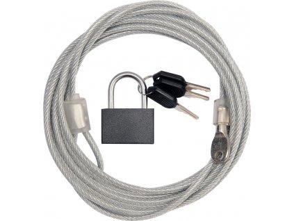 Ocelové lanko s visacím zámkem VOREL / 3 m / 3 klíče