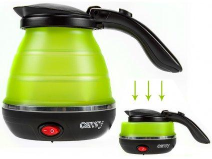 Cestovní elektrická konvice CAMRY CR1265 / zelená / 750 W / 0,5 l