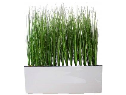 Umělá tráva v obdélníkovém květináči / dekorace / 65 x 55 cm