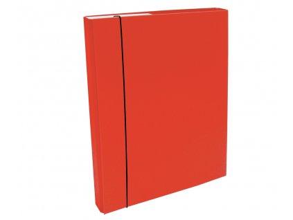 Box na spisy s gumkou A4/30 PP červený