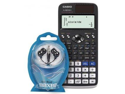 Kalkulačka Casio FX 991 CE X + sluchátka Maxell / černá / ZÁNOVNÍ