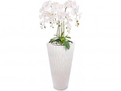 Umělá rostlina orchidej v květináči / dekorace / bílá / 80 cm / ROZBALENO