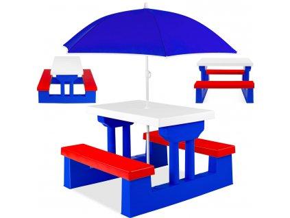 40595 4 kesser detska sedaci souprava sada zahradniho nabytku pro deti skladaci stul s lavici modry