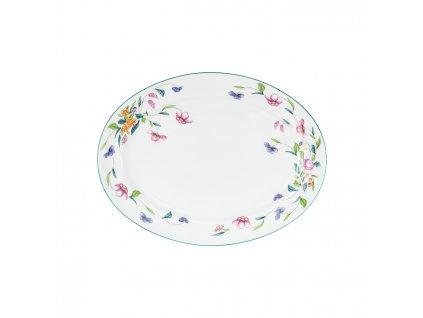 35111 kvetovany ovalny talir porcel 1ks 29cm