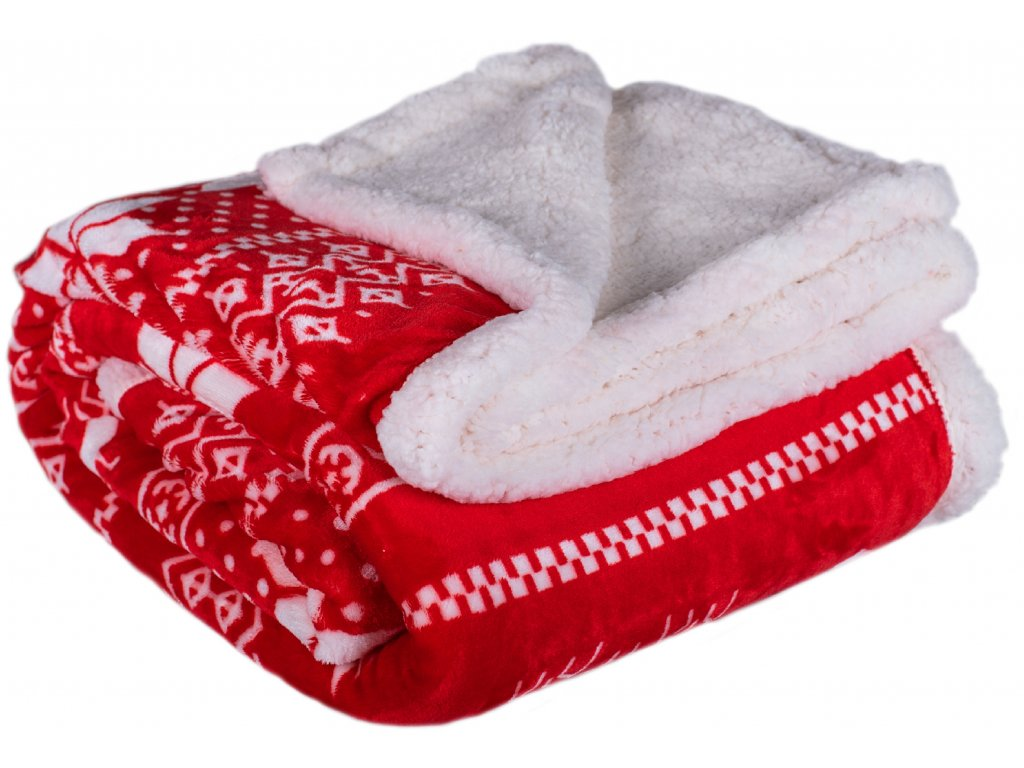 Deka Beránek 150x200 WINTER červená