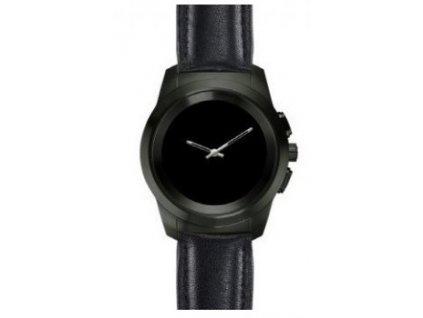 Chytré hodinky Zetime Premium Petite titan / černá kůže ploché / ROZBALENO