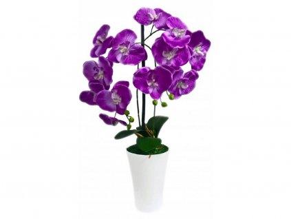 Umělá rostlina orchidej v květináči / dekorace / fialová / 115 cm