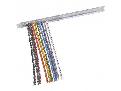 Sada značek CAB 3 pro kabely s průřezem 0,15 až 0,5 mm2 a svorky Viking 3 - 2500 značek