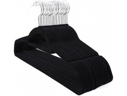 Plastové ramínka na oblečení / 20 ks / černá
