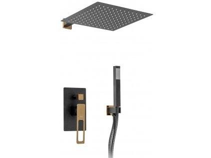 Podomítkový sprchový set s podomítkovou baterií REA Soho black / gold / POŠKOZENÝ OBAL