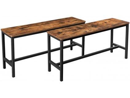 Sada 2 stolních lavic KTB33X / černá / hnědá