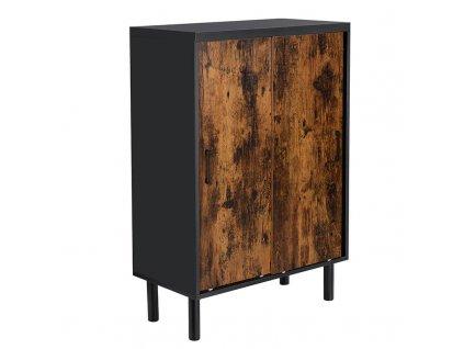 Dřevěný botník 70 x 35 x 100 cm / dřevo / kov
