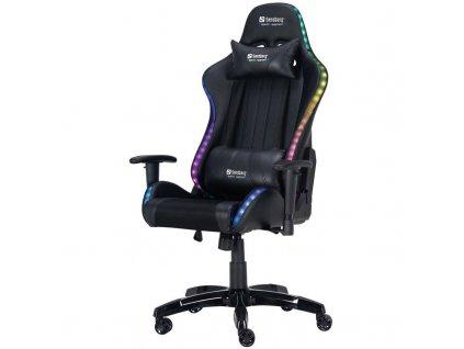Herní židle Sandberg COMMANDER RGB (640-94) / černá / ZÁNOVNÍ