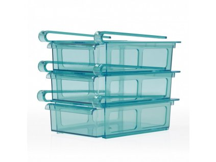 GOURMETmaxx - Zásuvka do chladničky - sada 3 kusů / transparentní/modrá / ROZBALENO
